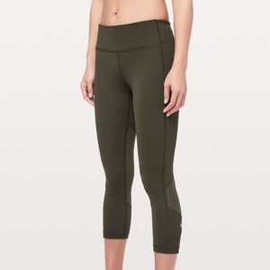 "d6256ae831f ... lululemon Pace Rival Crop 22"" in Dark Olive ..."